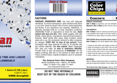 Etch n' Clean Product Label