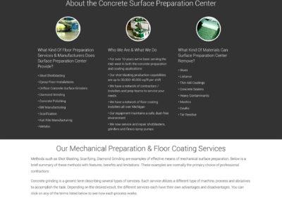 Surface Preparation Center Website Screenshot