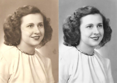 Marcy Pegley Photo Restoration 1940s - Before and After